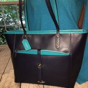 COACH Midnight/Turquoise X-Grain CITY TOTE w/Pouch